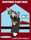 Cartoon: SOS (small) by cartoonharry tagged cartoonharry,israel,war,smartphone,alarm,sos