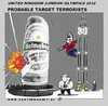 Cartoon: Target 2012 During Olympics (small) by cartoonharry tagged cartoonist,holland,heineken,house,terrorists,goal,target,london,england,2012,olympics,cartoon,comic,comix,comics,artist,cool,cooler,man,men,boy,boys,drawing,bigben,toonpool,toonsup,facebook,hyves,deviantart,linkedin,buurtlink,cartoonharry,dutch