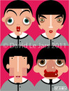 Cartoon: The Beatles (small) by Hugh Jarse tagged beatles,fab,four,john,lennon,paul,macartney,ringo,starr,george,harrison
