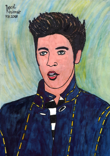 Cartoon: Elvis Presley (medium) by Pascal Kirchmair tagged rockabilly,fusion,country,musik,rhythm,and,blues,elvis,aaron,presley,memphis,tennessee,januar,january,janvier,1935,in,tupelo,mississippi,singer,the,king,of,rock,roll,pop,cartoon,caricature,karikatur,ilustracion,illustration,pascal,kirchmair,dibujo,desenho,drawing,zeichnung,disegno,ilustracao,illustrazione,illustratie,dessin,de,presse,du,jour,art,day,tekening,teckning,cartum,vineta,comica,vignetta,caricatura,humor,humour,portrait,retrato,ritratto,portret,porträt,artiste,artista,artist,usa,cantautore,music,musique,jail,house,love,me,tender,nothing,but,hound,dog,no,friend,mine,jailhouse,rockabilly,fusion,country,musik,rhythm,and,blues,elvis,aaron,presley,memphis,tennessee,januar,january,janvier,1935,in,tupelo,mississippi,singer,the,king,of,rock,roll,pop,cartoon,caricature,karikatur,ilustracion,illustration,pascal,kirchmair,dibujo,desenho,drawing,zeichnung,disegno,ilustracao,illustrazione,illustratie,dessin,de,presse,du,jour,art,day,tekening,teckning,cartum,vineta,comica,vignetta,caricatura,humor,humour,portrait,retrato,ritratto,portret,porträt,artiste,artista,artist,usa,cantautore,music,musique,jail,house,love,me,tender,nothing,but,hound,dog,no,friend,mine,jailhouse