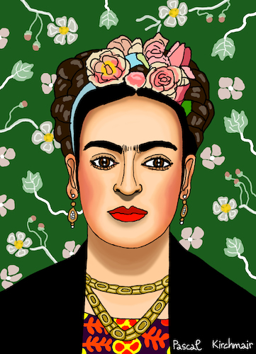 Cartoon: Frida Kahlo (medium) by Pascal Kirchmair tagged frida,kahlo,mexiko,künstlerin,woman,painter,peintre,pittrice,pintora,malerin,mexico,portrait,retrato,ritratto,cartoon,caricature,karikatur,vignetta,artist,artista,frida,kahlo,mexiko,künstlerin,woman,painter,peintre,pittrice,pintora,malerin,mexico,portrait,retrato,ritratto,cartoon,caricature,karikatur,vignetta,artist,artista