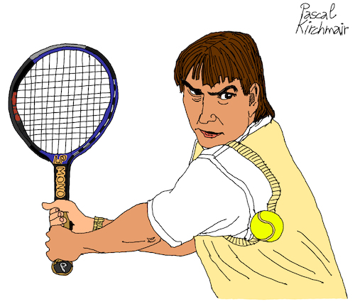 Cartoon: Jimmy Connors (medium) by Pascal Kirchmair tagged jimmy,connors,tennis,hall,of,fame,superstar,cartoon,caricature,karikatur,dibujo,desenho,drawing,zeichnung,illustration,ilustracion,pascal,kirchmair,portrait,retrato,ritratto,disegno,ilustracao,illustrazione,illustratie,dessin,du,jour,art,the,day,tekening,teckning,cartum,vineta,comica,vignetta,caricatura,usa,belleville,illinois,greatest,number,one,jimmy,connors,tennis,hall,of,fame,superstar,cartoon,caricature,karikatur,dibujo,desenho,drawing,zeichnung,illustration,ilustracion,pascal,kirchmair,portrait,retrato,ritratto,disegno,ilustracao,illustrazione,illustratie,dessin,du,jour,art,the,day,tekening,teckning,cartum,vineta,comica,vignetta,caricatura,usa,belleville,illinois,greatest,number,one
