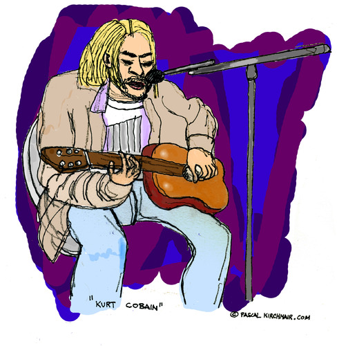 Cartoon: Kurt Cobain (medium) by Pascal Kirchmair tagged song,singer,songwriter,seattle,the,man,who,sold,world,kurt,cobain,nirvana