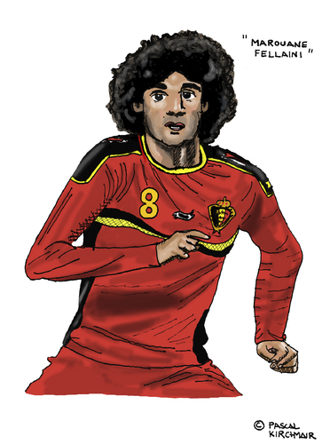 Cartoon: Marouane Fellaini (medium) by Pascal Kirchmair tagged wm,fifa,world,cup,weltmeisterschaft,fußballer,spieler,foot,football,futebol,futbol,marouane,fellaini,belgien,belgique,caricature,cartoon,karikatur,dessin,illustration,poster,wm,fifa,world,cup,weltmeisterschaft,fußballer,spieler,foot,football,futebol,futbol,marouane,fellaini,belgien,belgique,caricature,cartoon,karikatur,dessin,illustration,poster
