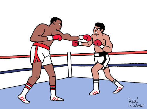 Cartoon: Muhammed Ali vs. Larry Holmes (medium) by Pascal Kirchmair tagged larry,holmes,boxer,muhammed,ali,cassius,clay,boxeur,boxing,heavy,weight,championship,dibuix,illustration,drawing,zeichnung,pascal,kirchmair,cartoon,caricature,karikatur,ilustracion,dibujo,desenho,ink,disegno,ilustracao,illustrazione,illustratie,dessin,de,presse,du,jour,art,of,the,day,tekening,teckning,cartum,vineta,comica,vignetta,caricatura,champion,schwergewicht,schwergewichtsweltmeister,boxeador,pugil,pugilista,pugile,pugilatore,larry,holmes,boxer,muhammed,ali,cassius,clay,boxeur,boxing,heavy,weight,championship,dibuix,illustration,drawing,zeichnung,pascal,kirchmair,cartoon,caricature,karikatur,ilustracion,dibujo,desenho,ink,disegno,ilustracao,illustrazione,illustratie,dessin,de,presse,du,jour,art,of,the,day,tekening,teckning,cartum,vineta,comica,vignetta,caricatura,champion,schwergewicht,schwergewichtsweltmeister,boxeador,pugil,pugilista,pugile,pugilatore