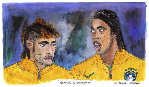 Cartoon: Neymar and Ronaldinho (medium) by Pascal Kirchmair tagged fußball,brasile,brazil,brasil,bresil,futbol,futebol,foot,cartoon,caricature,karikatur,selecao,gaucho,ronaldinho,neymar,soccer,portrait,watercolour,aquarell,neymar,ronaldinho,gaucho,selecao,karikatur,caricature,cartoon,foot,futebol,futbol,bresil,brasil,brazil,brasile,fußball,soccer,portrait,watercolour,aquarell