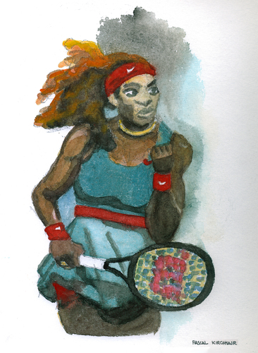 Cartoon: Serena Williams (medium) by Pascal Kirchmair tagged watercolour,cartoon,aquarell,tennis,wta,usa,sportler,sport,williams,serena