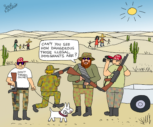 Cartoon: US-Mexican border (medium) by Pascal Kirchmair tagged migrants,migrant,militia,arizona,california,immigrants,mexican,border,patrol,militias,make,america,white,again,angry,men,cartoon,donald,trump,wall,mexico,mexiko,usa,illegal,immigration,illustration,drawing,zeichnung,pascal,kirchmair,caricature,karikatur,ilustracion,dibujo,desenho,ink,disegno,ilustracao,illustrazione,illustratie,dessin,de,presse,du,jour,art,of,the,day,tekening,teckning,cartum,vineta,comica,vignetta,caricatura,caravan,honduras,guatemala,tijuana,caravana,karawane,hispanics,migrants,migrant,militia,arizona,california,immigrants,mexican,border,patrol,militias,make,america,white,again,angry,men,cartoon,donald,trump,wall,mexico,mexiko,usa,illegal,immigration,illustration,drawing,zeichnung,pascal,kirchmair,caricature,karikatur,ilustracion,dibujo,desenho,ink,disegno,ilustracao,illustrazione,illustratie,dessin,de,presse,du,jour,art,of,the,day,tekening,teckning,cartum,vineta,comica,vignetta,caricatura,caravan,honduras,guatemala,tijuana,caravana,karawane,hispanics