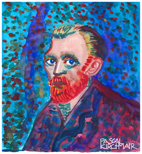 Cartoon: Vincent van Gogh (medium) by Pascal Kirchmair tagged pascal,kirchmair,vincent,van,gogh,cartoon,caricature,karikatur,watercolour,aquarell,vignetta,aquarelle,cuadro,quadro,bild,imagen,image,acquarello,acquerello,aquarela,acuarela,pascal,kirchmair,vincent,van,gogh,cartoon,caricature,karikatur,watercolour,aquarell,vignetta,aquarelle,cuadro,quadro,bild,imagen,image,acquarello,acquerello,aquarela,acuarela