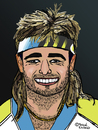 Cartoon: Andre Kirk Agassi (small) by Pascal Kirchmair tagged andre agassi caricature karikatur portrait vignetta cartoon las vegas nevada usa tennis