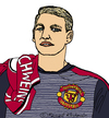Cartoon: Bastian Schweinsteiger (small) by Pascal Kirchmair tagged football fußball foot bastian schweinsteiger caricature karikatur cartoon manchester united illustration dessin zeichnung dibujo desenho disegno drawing portrait retrato ritratto