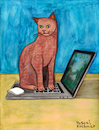 Cartoon: Cat on laptop (small) by Pascal Kirchmair tagged laptop,notebook,cat,katze,gato,gatto,chat,humour,umorismo,humorous,spirito,humor,karl,lagerfeld,illustration,drawing,zeichnung,pascal,kirchmair,political,cartoon,caricature,karikatur,ilustracion,dibujo,desenho,ink,disegno,ilustracao,illustrazione,illustratie,dessin,de,presse,tekening,teckning,cartum,vineta,comica,vignetta,caricatura