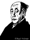 Cartoon: Eugene Ionesco (small) by Pascal Kirchmair tagged eugene,ionesco,caricature,karikatur,portrait,dessin,rhinoceros,nashörner,zeichnung,illustration,drawing,cartoon,theatre,absurde,theater