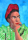 Cartoon: Frida Kahlo (small) by Pascal Kirchmair tagged frida,kahlo,cartoon,zeichnung,desenho,caricature,illustration,ilustracion,pascal,kirchmair,portrait,retrato,ritratto,drawing,dibujo,disegno,ilustracao,illustrazione,illustratie,dessin,du,jour,art,of,the,day,tekening,teckning,cartum,vineta,comica,vignetta,caricatura,karikatur,ink,immagine,image,bild,imagen,imagem,arte,dipinto,watercolour,watercolor,aquarelle,portret