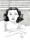 Cartoon: Hedy Lamarr (small) by Pascal Kirchmair tagged hedy,lamarr,ecstasy,artist,art,hollywood,parasite,screenwriter,illustration,drawing,zeichnung,pascal,kirchmair,cartoon,caricature,karikatur,ilustracion,dibujo,desenho,ink,disegno,ilustracao,illustrazione,illustratie,dessin,de,presse,du,jour,of,the,day,tekening,teckning,cartum,vineta,comica,vignetta,caricatura,portrait,porträt,portret,retrato,ritratto,austria,österreich,movies,film,industry,black,and,white,stummfilm,star,kino,ekstase