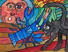 Cartoon: Le homard et le chat (small) by Pascal Kirchmair tagged hummer,und,katze,lobster,and,cat,homard,et,le,chat,gato,gatto,langosta,la,coruna,pablo,ruiz,picasso,espana,antibes,provence,barcelona,painting,dipinto,pintura,pittura,peinture,artist,artiste,artista,kunst,künstler,illustration,drawing,zeichnung,pascal,kirchmair,cartoon,caricature,karikatur,ilustracion,dibujo,desenho,ink,disegno,ilustracao,illustrazione,illustratie,dessin,de,presse,du,jour,art,of,the,day,tekening,teckning,cartum,vineta,comica,vignetta,caricatura,portrait,porträt,portret,retrato,ritratto,malaga,spanien,espagne,spain,spagna,arte,bild,image,watercolor,aquarelle,watercolour,aquarell,permanent,marker