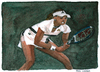 Cartoon: Martina Hingis (small) by Pascal Kirchmair tagged sportler schweiz martina hingis wta tennis aquarell cartoon watercolour