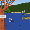 Cartoon: No Fishing (small) by Pascal Kirchmair tagged cartoon angeln fischen no fishing verboten jäger fisher fischer chasseur chasser pecher peche interdite divieto di pesca
