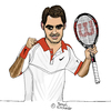 Cartoon: Roger Federer (small) by Pascal Kirchmair tagged sabr sneak attack by roger federer caricature karikatur vignetta cartoon dessin us open 2015 tennis new york flushing meadows grand slam turnier