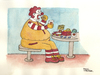 Cartoon: The real Ronald McDonald (small) by Pascal Kirchmair tagged karikatur fettleibigkeit ronald mac mc donald obesity cartoon obese caricature