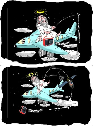 Cartoon: angler in the sky (medium) by kar2nist tagged sky,heavens,fishing,airplane,satellite