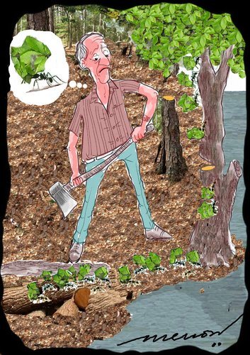 Cartoon: cut leaves not trees (medium) by kar2nist tagged felling,trees,ants,leafcutter