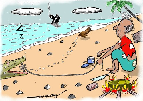 Cartoon: high hopes (medium) by kar2nist tagged hope,marooned,croc,chicken,island,trapping