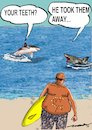 Cartoon: a lesson for sharks (small) by kar2nist tagged shark,surfer,attacks,sea