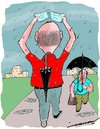 Cartoon: absent-minded (small) by kar2nist tagged absent,minded,old,people,forgetfulness,rain,umbrella