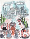 Cartoon: Roving Eyes (small) by kar2nist tagged women,taj,mahal,tourists,sight,seeing