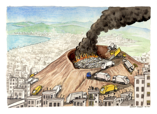 Cartoon: Bella Napoli (medium) by Niessen tagged trash,neaples,garbage,vulcan,vesuvius,fire,burning,recycling,city