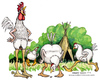 Cartoon: Chicken (small) by Niessen tagged gallo,gallina,canto,pollaio,cock,hen,singing,henhouse,hahn,henne,gesang,hühnerstall