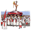 Cartoon: La processione (small) by Niessen tagged uomini,men,processione,reliquia,car