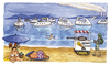 Cartoon: Puntala Beach (small) by Niessen tagged italy,puntala,beach,iron,summer,boats,seaside