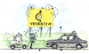 Cartoon: The DDR Road (small) by Niessen tagged ddr,capitalism,comunism,road,higway,holes,police,vopo