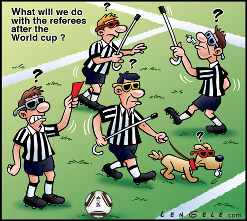 Cartoon: Fifa World cup 2010 (medium) by Carayboo tagged fifa,world,cup,2010,ref,referee,soccer,sport,ball,blind,dog,football,red