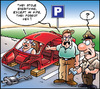 Cartoon: Car stolen (small) by Carayboo tagged car,theft,wreck,object,insurance,mother,wife,cop,parking