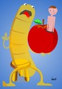 Cartoon: Erdenwurm (small) by berti tagged wurm,apfel,worm,apple,gone,bad,rollentausch,switching,roles,inkscape