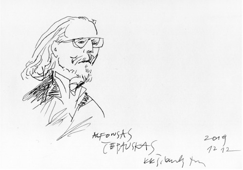 Cartoon: Alfonsas Cepauskas (medium) by Kestutis tagged sketch,kestutis,lithuania,kunst,art