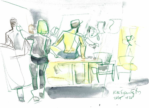 Cartoon: Artists Studio (medium) by Kestutis tagged art,kunst,sketch,kestutis,lithuania