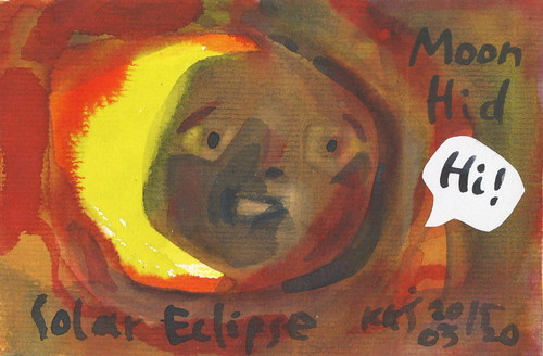 Cartoon: Moon hid (medium) by Kestutis tagged lithuania,kestutis,postcard,dada,moon,astronomy,eclipse,solar