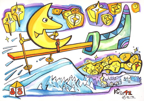 Cartoon: Moon rushing to Santa Claus (medium) by Kestutis tagged moon,santa,claus,mond,ski,stars,sterne,kestutis,lithuania,christmas,weihnachten,winter