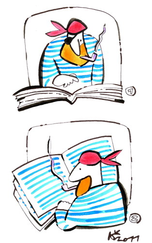 Cartoon: PIRATE A READER (medium) by Kestutis tagged pirate,book,reader,pipes