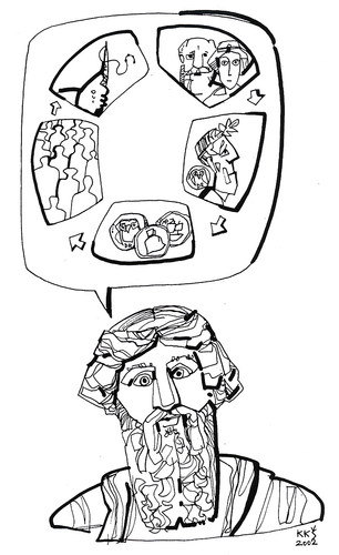 Cartoon: PLATON (medium) by Kestutis tagged platon,ideas,book,tyranny,democracy,philosopher,person,policy,portrait,kestutis,vilnius,lithuania,oligarchy,timocracy,bubble,aristocracy