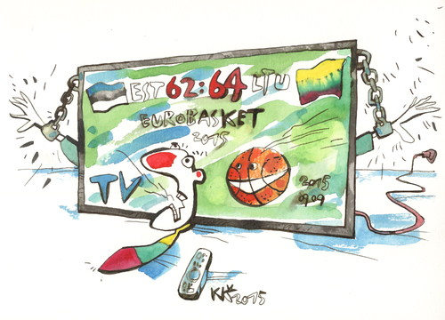 Cartoon: TV - suffering fans (medium) by Kestutis tagged tv,kestutis,lithuania,estonia,basketball,eurobasket