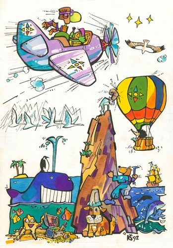 Cartoon: Voyage. Reise (medium) by Kestutis tagged voyage,journey,travel,trip,reise,kinder,children,kestutis,lithuania