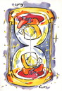 Cartoon: TIME. ZEIT. LAIKAS (small) by Kestutis tagged happy new year time zeit hourglass sanduhr