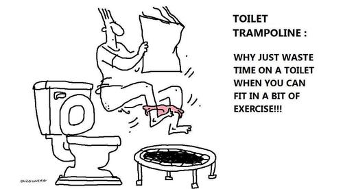 Cartoon: exercise and stuff (medium) by ouzounian tagged exercise,weightloss,diet,toilets,trampolines