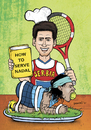 Cartoon: DJOKOVIC - HOW TO SERVE NADAL (small) by dragas tagged tennis,grass,sport,cup,djokovic,novak,serbia,pancevo,dragas,rafael,nadal,spain,cook