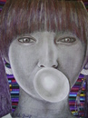 Cartoon: bubble  gum burst (small) by odinelpierrejunior tagged drawings,image,portrait,female,arts